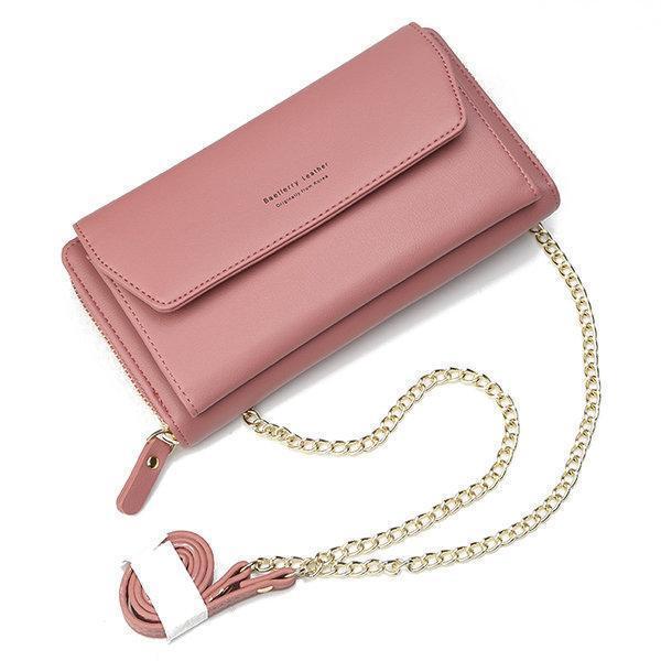 Cell Phone Pocket Portable Wallet Card Holder Chain Crossbody Bag