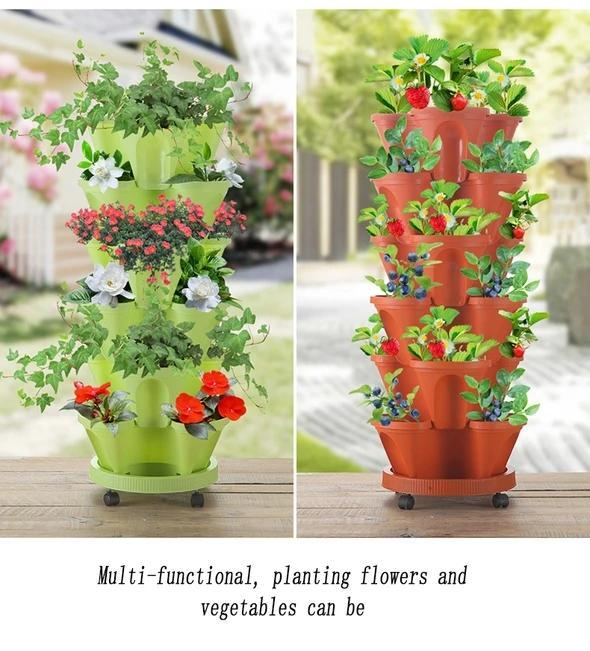 (🌼Plant Festival Special 50% OFF)-Stand Stacking Planters Strawberry Planting Pots
