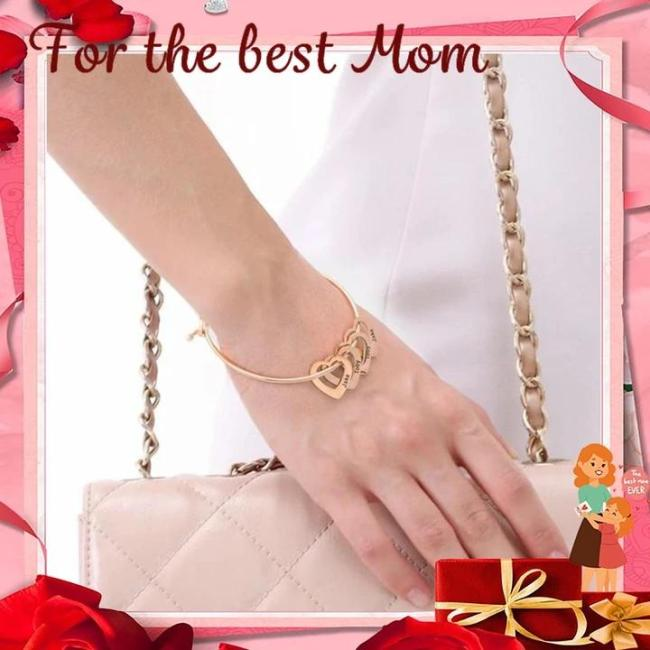 Mother's Day Gift Family Bangle Bracelet with Heart Shape Pendants