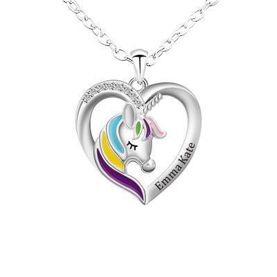 2021 Unicorn Necklace Color Peach Heart Necklace(Personalized)