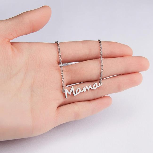 Mom Lockbone Chain Pendant Necklace Gift Mother's Day Stainless Steel Jewellery