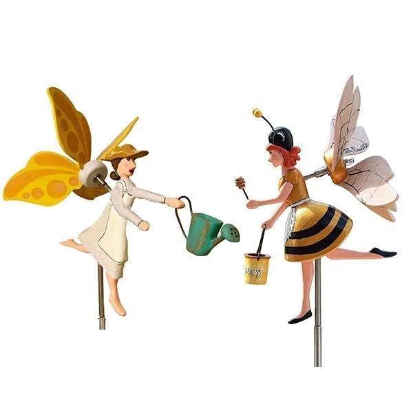 Miss Bee Garden Art Decor Whirligigs Wind Spinners