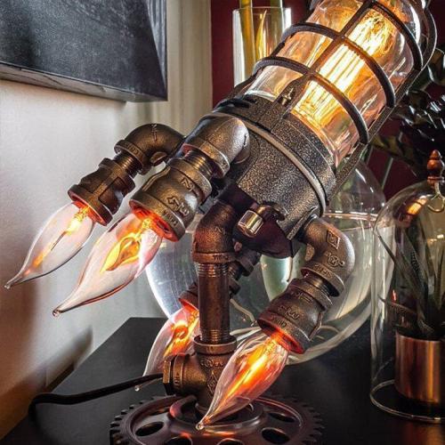 Steampunk Rocket Lamp