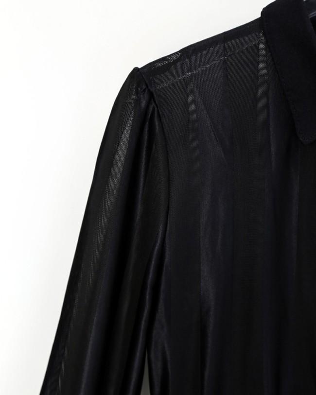 Sheer Mesh & Stripes Keyhole Front Bodycon Dress
