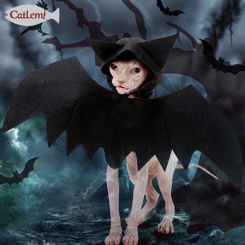 Halloween Pet Bat Wings Black Cool Puppy Cat Cat Bat With Hood Lightweight Transformation Dress