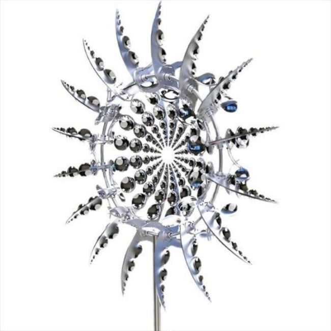 Wind Powered Kinetic Sculpture Magical Metal Windmill