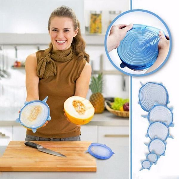 6 Pcs Silicone Reusable Fresh Cover Kitchen Tool