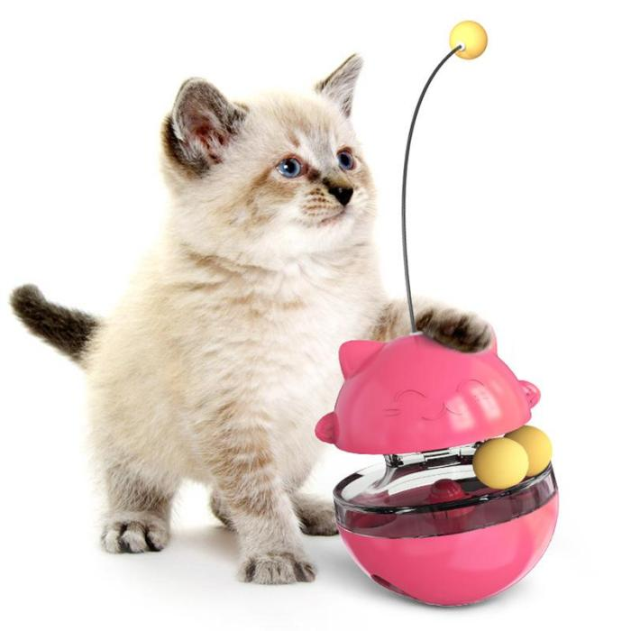 4 in 1 Cat Toy - Cat Feeder+Track Ball+Funny Cat Stick+Tumbler