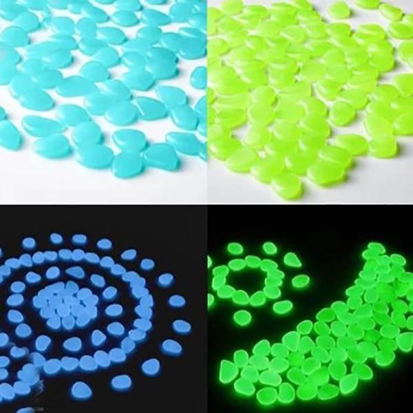 Glow-In-The-Dark Luminous Garden Pebbles - 100pcs
