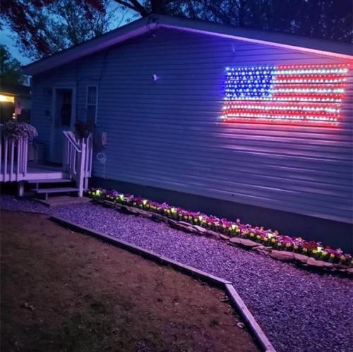 AMERICAN FLAG 390 LED STRING LIGHTS-LARGE USA FLAG OUTDOOR LIGHTS