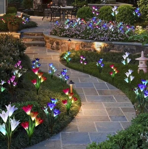 Artificial Lily Solar Garden Stake Lights(1 Pack of 4 Lilies)