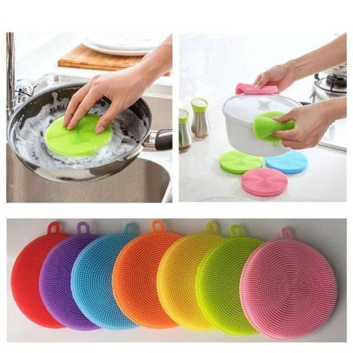 Kitchen Silicone Dish Sponge Scrubber Cleaning Antibacterial Tool