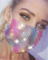 Grid Bling Flash Rhinestone Face Mask