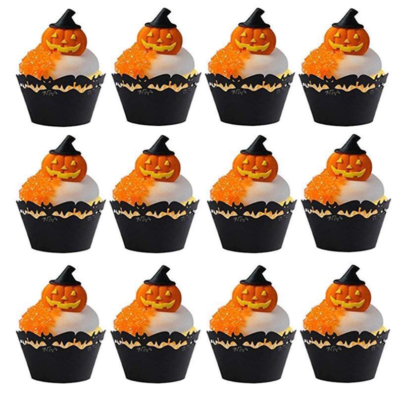 Kungfu Mall Halloween Cupcake Decorations Set 36Pcs Halloween Cupcake Wrapper Cases y 36 Pcs Halloween Cupcake Toppers para la fiesta de Halloween