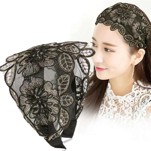 Wide Lace Embroidered Headband