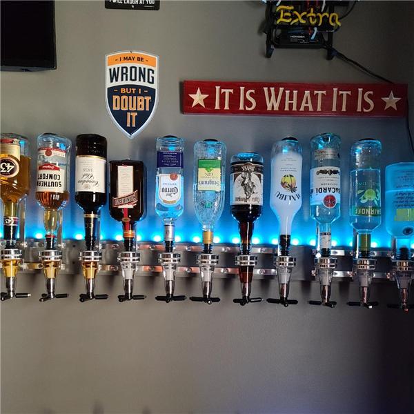 FREE SHIPPING! Wall Mounted 6 Bottle Liquor Dispenser