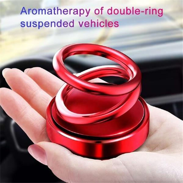 360 ° Rotation Suspension Creative Double Rotating Ring Car Air Freshener Aromatherapy