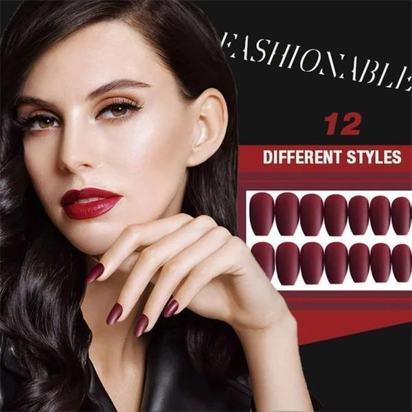 1min Style Change Reusable Matte Wearing Manicure Fake Nails(24PCS)