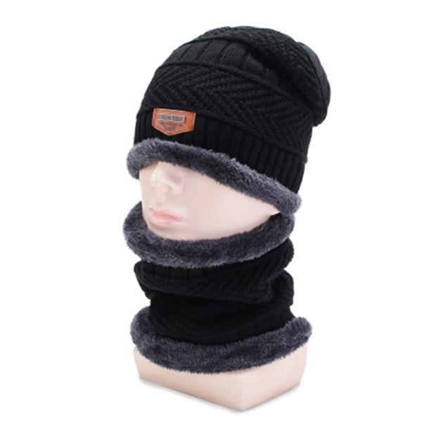 Warm Beanie Cap With Scarf