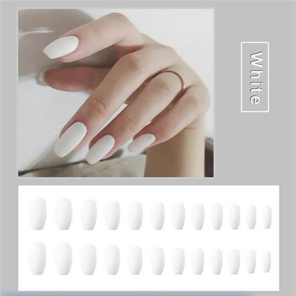 1min Style Change Reusable Matte Wearing Manicure Fake Nails(24PCS)