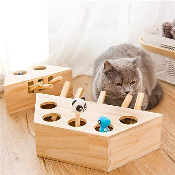 Wooden Solid Whack-A-Mole Game Funny Kitten Puzzle Toy