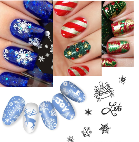 Christmas Nails - Nail Art Stamp Template