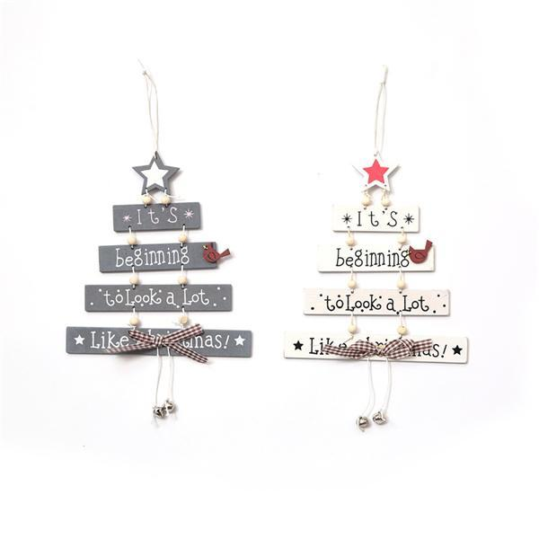 Christmas Wooden Wind Chimes Letter Card Pendant