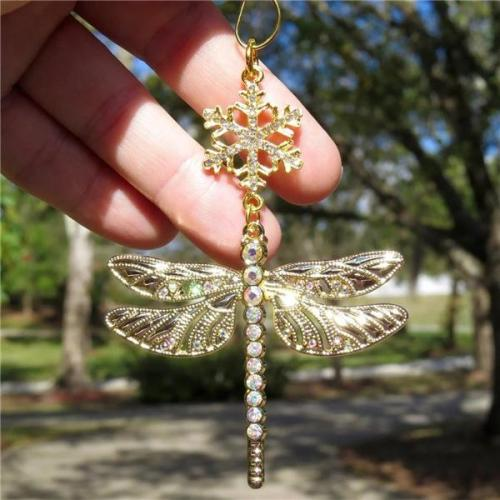 Snowflake Dragonfly Glittering Christmas Ornament