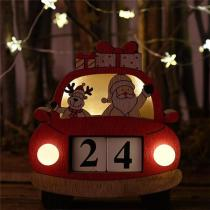 Christmas Car Calendar With Lights Wooden Ornaments