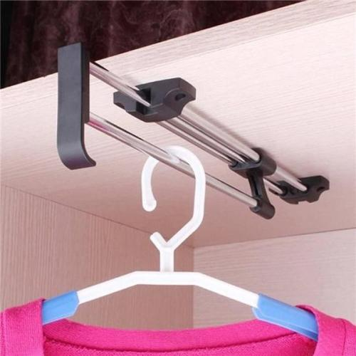 Top Heavy Duty Retractable Closet Pull Out Rod Wardrobe Clothes Hanger Rail