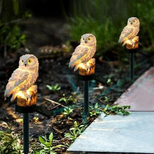Solar Powered Guarding Owl LED Garden Lights