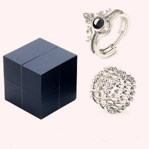 Creative S925 Silver Ring And Puzzle Jewelry Box