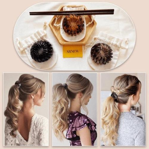 Vintage Geometric Retractable Hair Loops - 2PCS