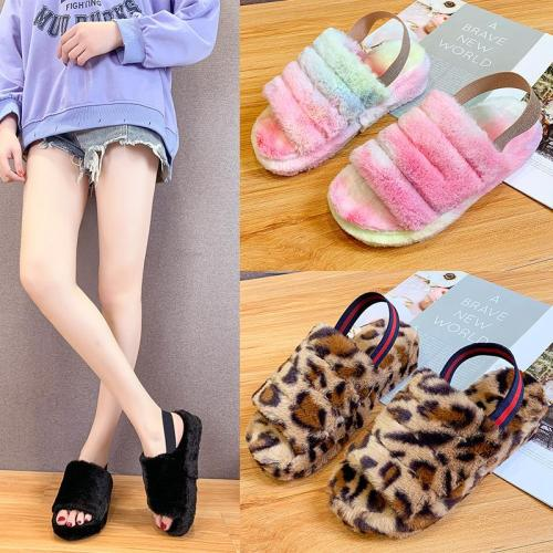 Women's cozy fluffy home slippers