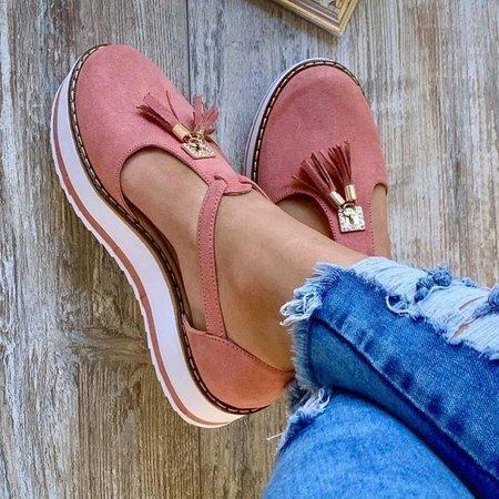 #No.1 Summer Trend   Women's Casual Platform Flat Comfort Fringe Shoes