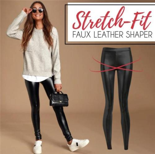 Women Stretch-Fit Faux Leather Pants