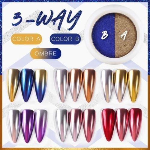 Dual Color Mirror Chrome Nail Powder