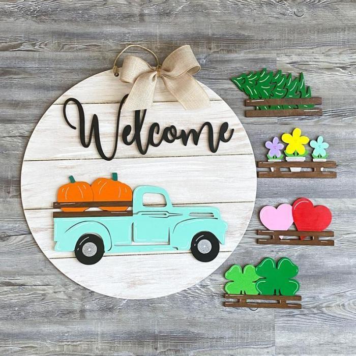 Interchangeable Vintage Truck Welcome Sign & School Bus Welcome Sign