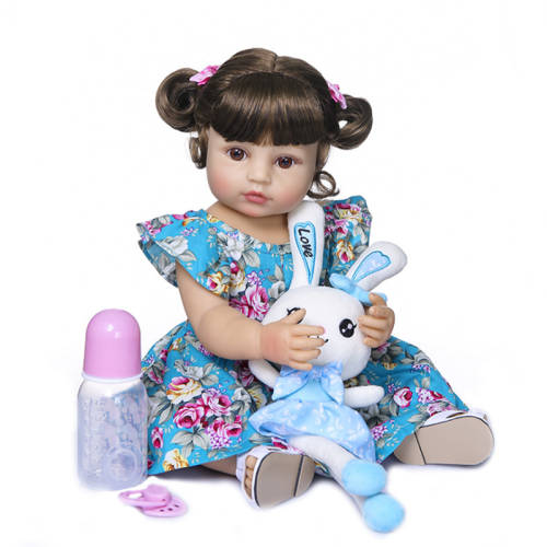 Beautiful Blue Dress Girl 22 Inch Lifelike Silicone Full Body Doll