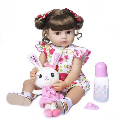 Lovely Flower Dress Girl 22 Inch Lifelike Silicone Full Body Doll