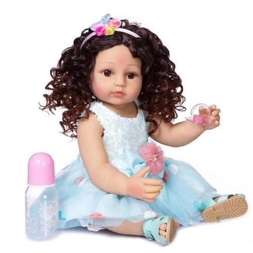Lovely Blue Dress Girl 22 Inch Lifelike Silicone Full Body Doll