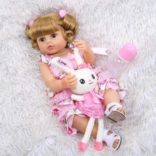 Lovely Pink Dress Girl 22 Inch Lifelike Silicone Full Body Doll