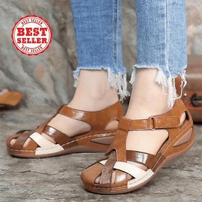 Clarks™ PREMIUM Leather Retro Arch Support Comfy Round Toe Sandals