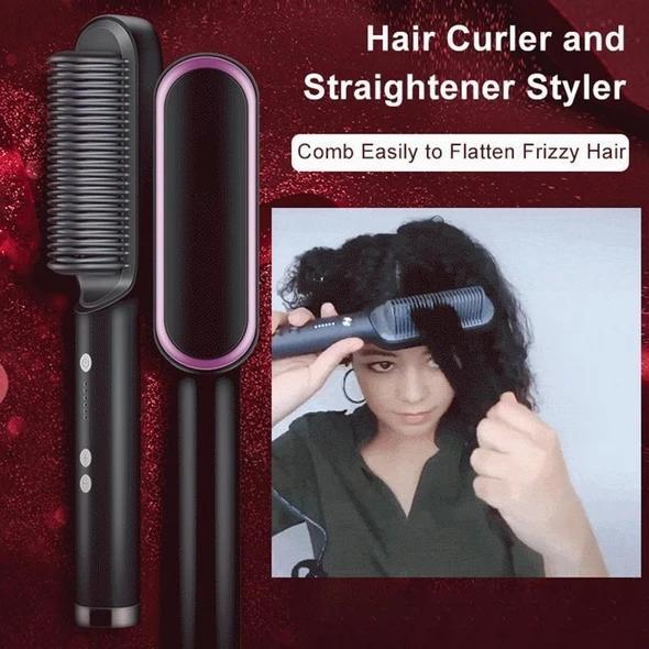 Hair Curler And Straightener Brush