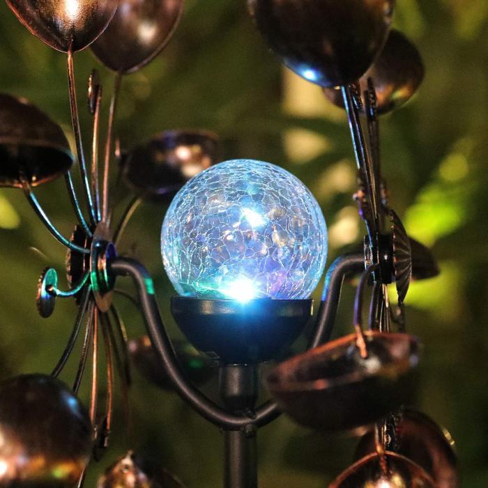 Solar Powered Glass Ball Wind Spinner