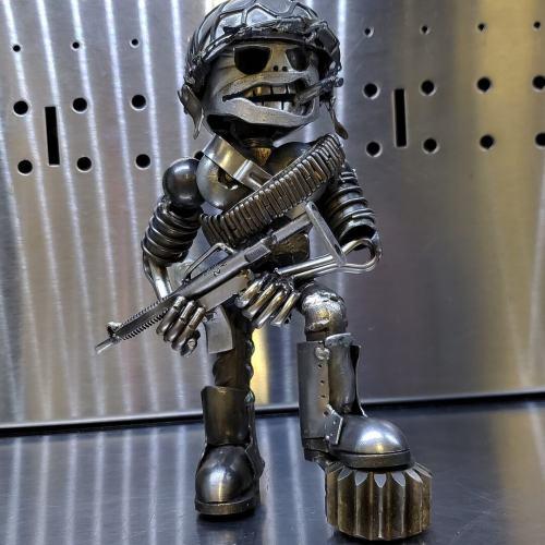 Metal Standing Warrior Sculpture