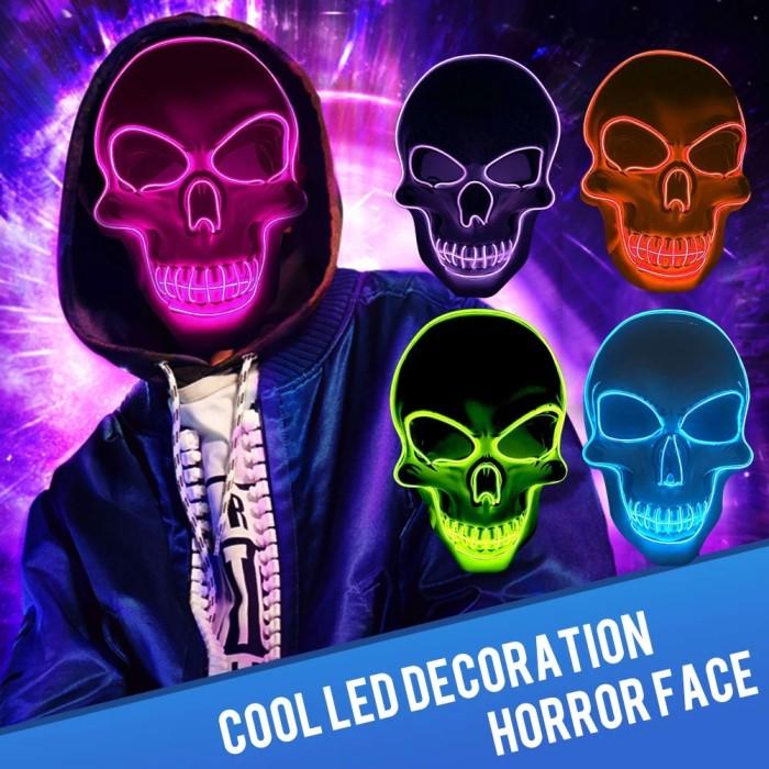 Light Up EL Wire Skull Mask