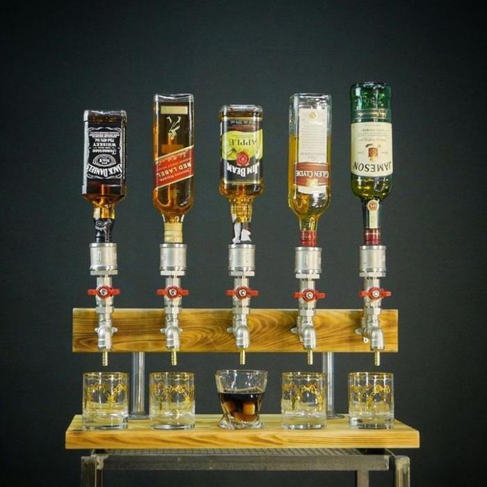 Liquor Alcohol Whiskey Wood Dispenser