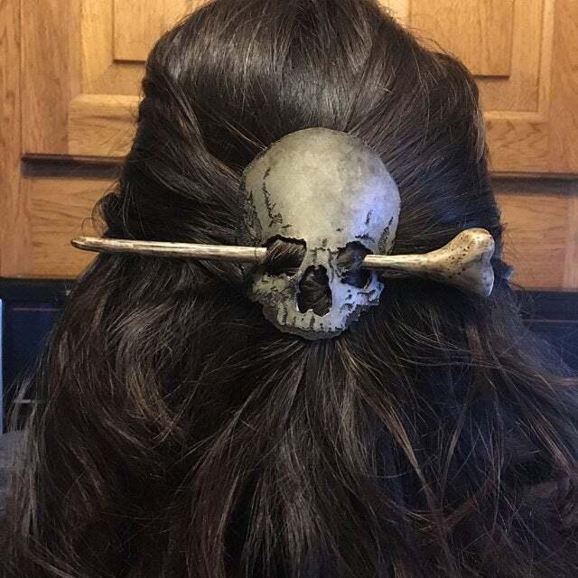 Death Moth/Skull Hair Pin Stick Slide with Faux Bone