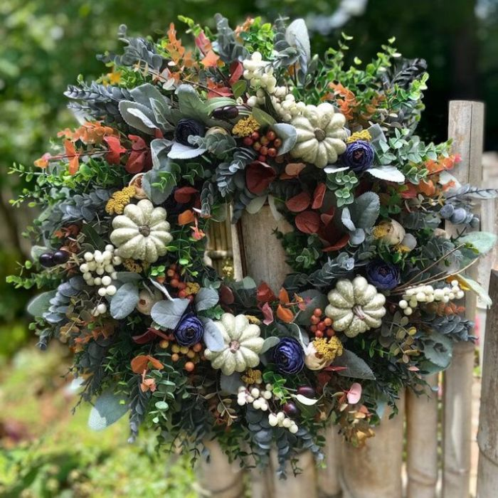 Autumn sale🎃White Pumpkins Ranunculus Wreath (50% discount)